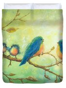 Bluebirds On Branches Duvet Cover