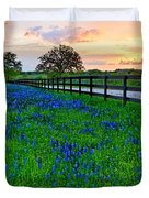Bluebonnet Fields Forever Brenham Texas Duvet Cover
