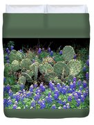 Bluebonnets And Cacti Duvet Cover