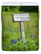 Bluebonnets And Mailbox Duvet Cover