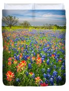 Bluebonnets And Prarie Fire Duvet Cover