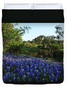 Bluebonnets By The Pond Duvet Cover