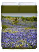 Bluebonnets Over Hill And Dale Duvet Cover