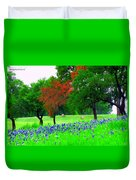 Bluebonnets With Red Flourish  Duvet Cover