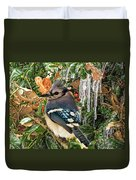 Bluejay And Ice Duvet Cover