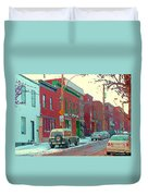 Blues And Brick Houses Winter Street Suburban Scenes The Point Sud Ouest Montreal Art Carole Spandau Duvet Cover