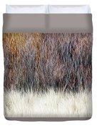 Blurred Brown Winter Woodland Background Duvet Cover