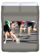 Blurred Marathon Runners Duvet Cover
