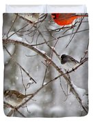 Blushing Red Cardinal In The Snow Duvet Cover