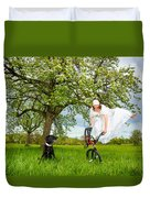 Bmx Flatland Bride Jumps In Spring Meadow Duvet Cover