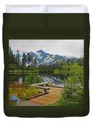 Board Walk- Lake- Fir Trees And Mount Baker Duvet Cover