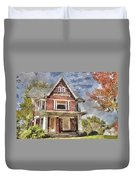 Boarded Up Old Characer Home Watercolor Duvet Cover