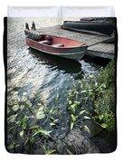 Boat At Dock On Lake Duvet Cover