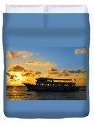Boat At Sunrise Duvet Cover