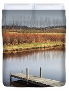 Boat Dock On A Pond In South West Michigan Duvet Cover