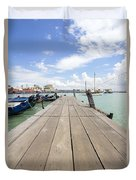 Boat Dock On Jetty In Penang Duvet Cover