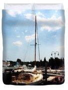 Boat - Docked Cabin Cruiser Duvet Cover