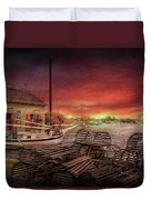 Boat - End Of The Season  Duvet Cover by Mike Savad