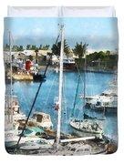 Boat - King's Wharf Bermuda Duvet Cover