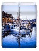 Boat Mast Reflection In Blue Ocean At Dock Morro Bay Marina Fine Art Photography Print Duvet Cover
