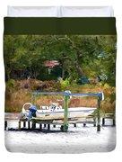 Boat On Dock Duvet Cover