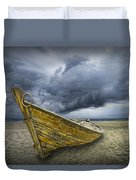 Boat On The Beach With Oncoming Storm Duvet Cover