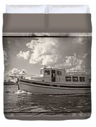Boat On The Water Duvet Cover