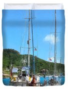 Boat - Relaxing At The Dock Duvet Cover