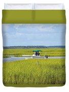 Boat Ride In The Marsh Duvet Cover