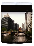 Boat Ride On The Chicago River Duvet Cover