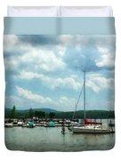 Boat - Sailboat At Dock Cold Springs Ny Duvet Cover
