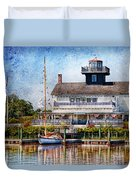 Boat - Tuckerton Seaport - Tuckerton Lighthouse Duvet Cover