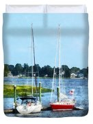 Boat - Two Docked Sailboats Norwalk Ct Duvet Cover