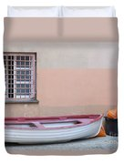 Boat Under A Window Duvet Cover