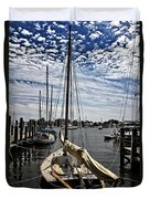 Boat Under The Clouds Duvet Cover