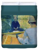 Boaters On The Yerres Duvet Cover