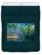 Boathouse On Pinnacle Lake Duvet Cover