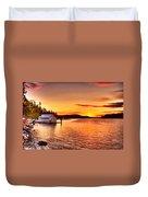 Boathouse Sunset On The Sunshine Coast Duvet Cover