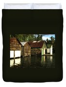 Boathouses On The River Duvet Cover
