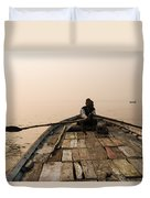 Boating At Sangam Duvet Cover