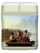 Boatmen On The Missouri Duvet Cover