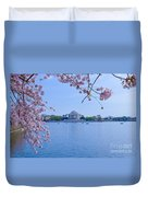 Boats Across The Basin Of Blossoms Duvet Cover