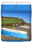 Boats Along Branscombe Beach Duvet Cover