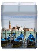 Boats Anchored At Marina Venice, Italy Duvet Cover