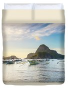 Boats Anchored In Bacuit Bay And Cadlao Duvet Cover