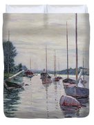 Boats Anchored On The Seine Duvet Cover by Gustave Caillebotte
