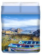 Boats And Floating Islands Duvet Cover