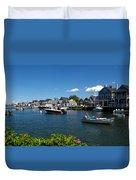 Boats At A Harbor, Nantucket Duvet Cover
