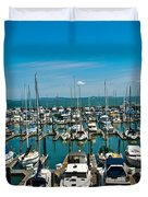 Boats At Bay Duvet Cover