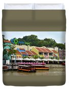 Boats At Clarke Quay Singapore River Duvet Cover